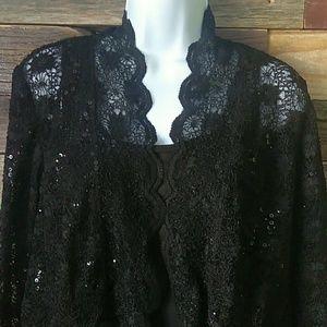 R&M Richards black lace sequined bolero cardigan